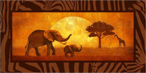 "Poster ""Afrika im Rahmen"" - Romantic Wall Art by Mausopardia - Romantische Wandbilder von Mausopardia bei Posterlounge!"