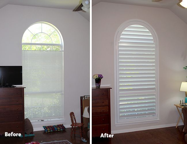 Den Before And After Plantation Shutters From Austin Window Fashions Awf Arched Plantation