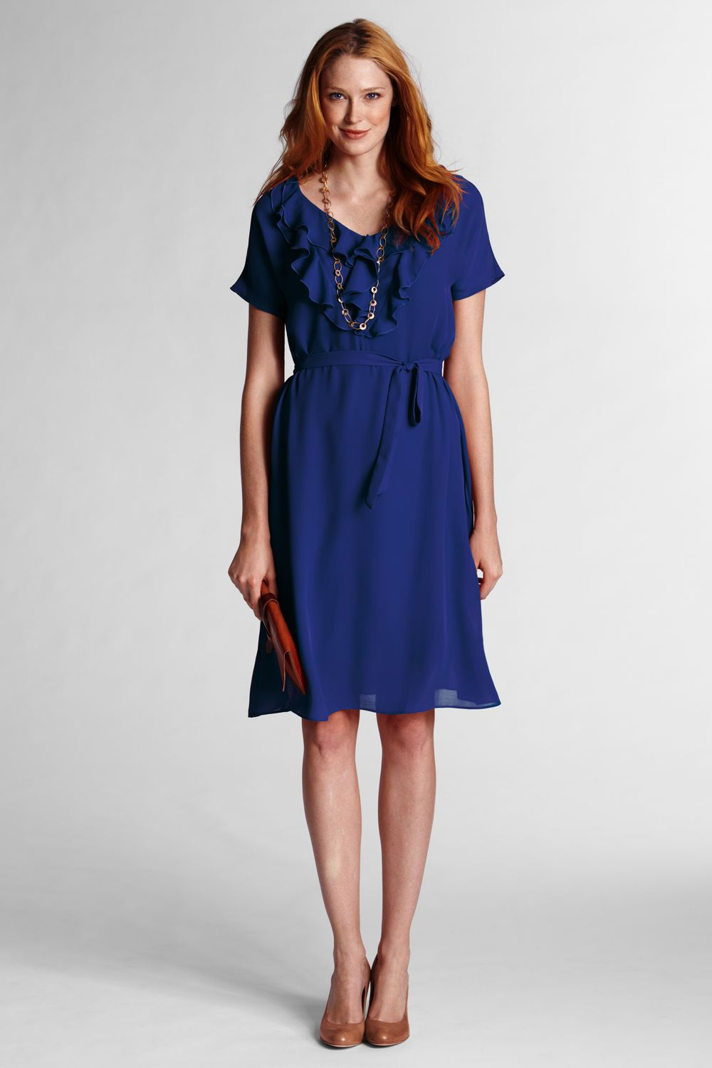 Women's Solid Ruffle Front Georgette Dress from Lands' End