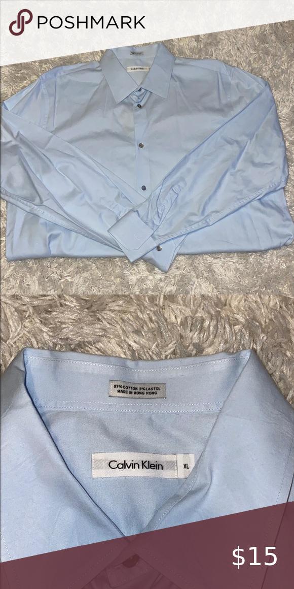 Calvin Klein Blue Buffon Down Dress Shirt In 2020 Mens Shirt Dress Long Sleeve Tshirt Men Shirts