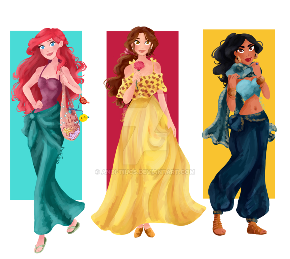Disney+Renaissance+Princesses+Summerwear+by+Andi-Tiucs.deviantart.com+on+@DeviantArt