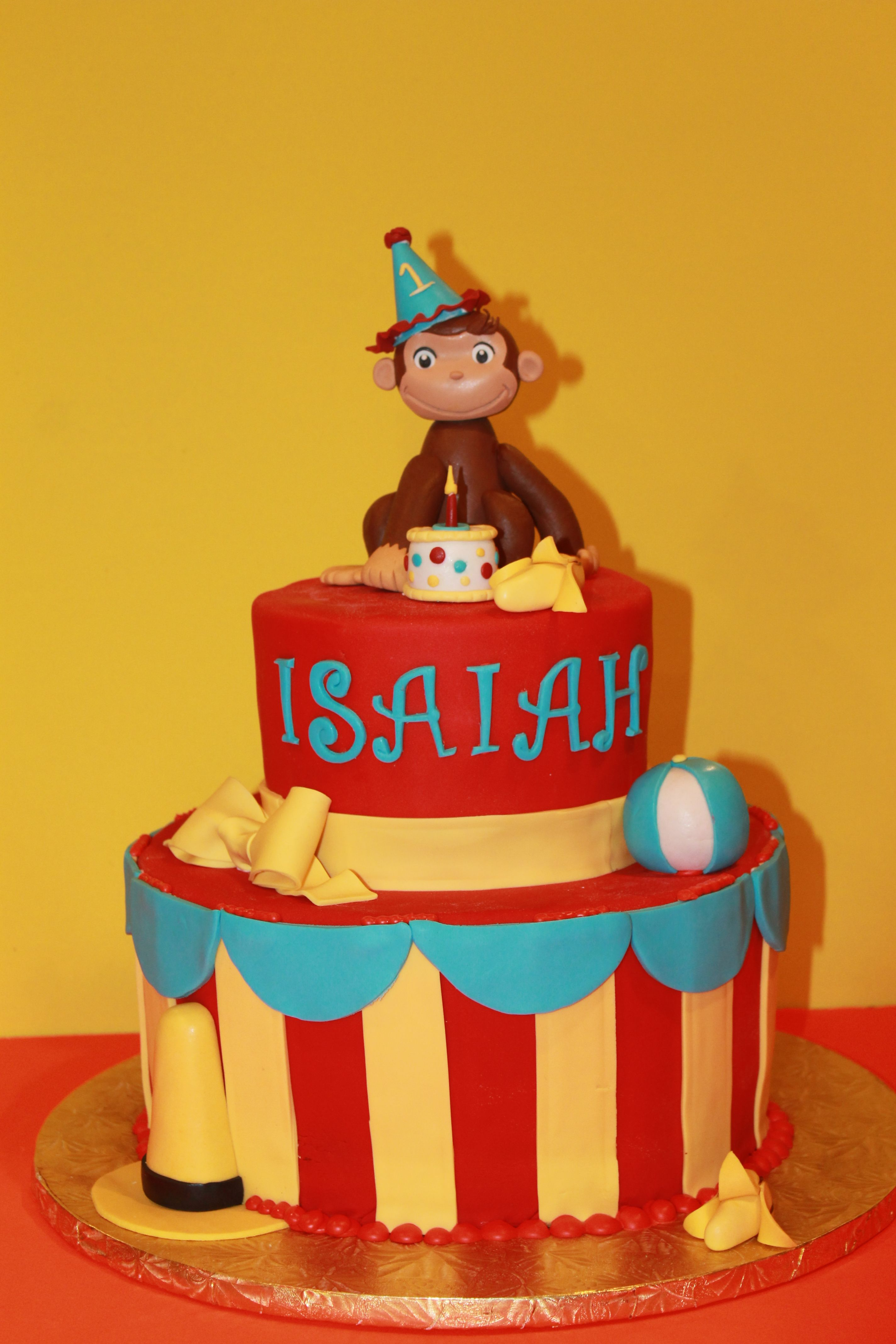 Edible Cake Images Curious George : Curious George Cake. Little George is hand sculpted and ...