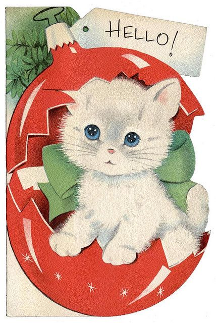 Retro Christmas Card, Marjorie Cooper Kitten