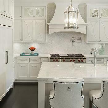 White Herringbone Backsplash With Off White Kitchen Cabinets