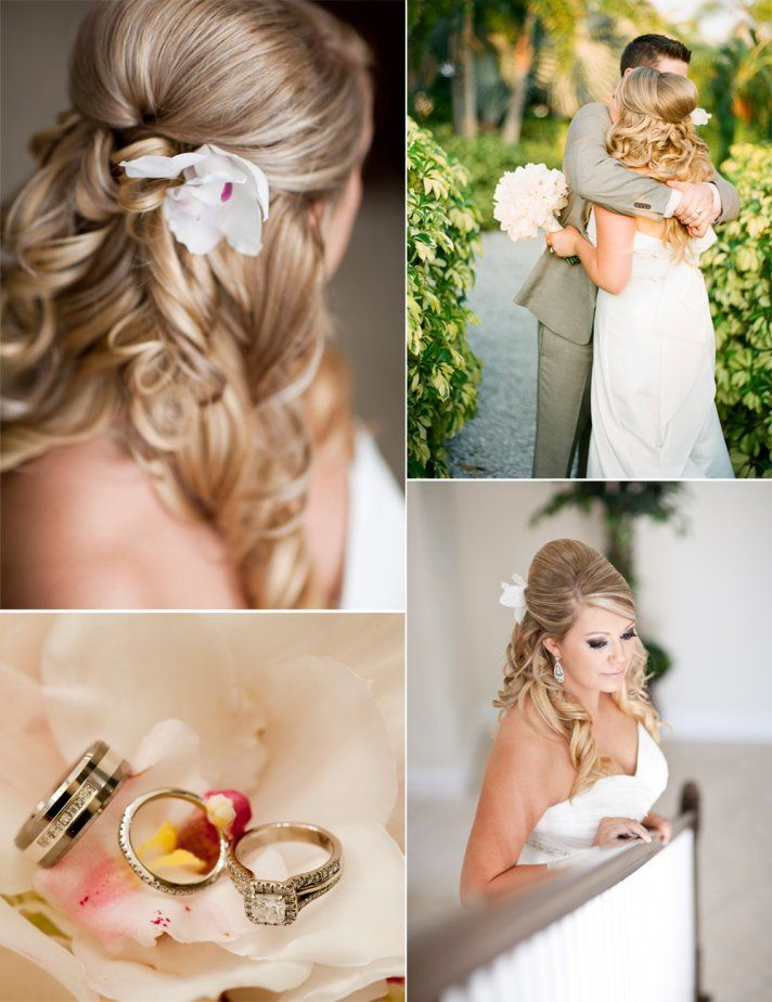Outdoor Wedding In Florida Bride Wears Halfup Wedding Hairstyle - Bridesmaid hairstyle beach
