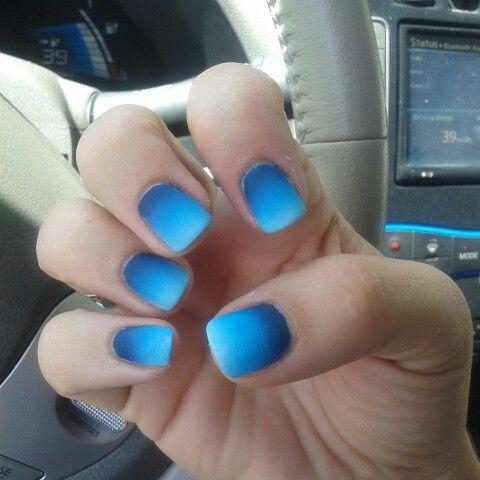 Blue Ombre Matte Nails Blue Nail Designs Matte Nails Design Trendy Nails
