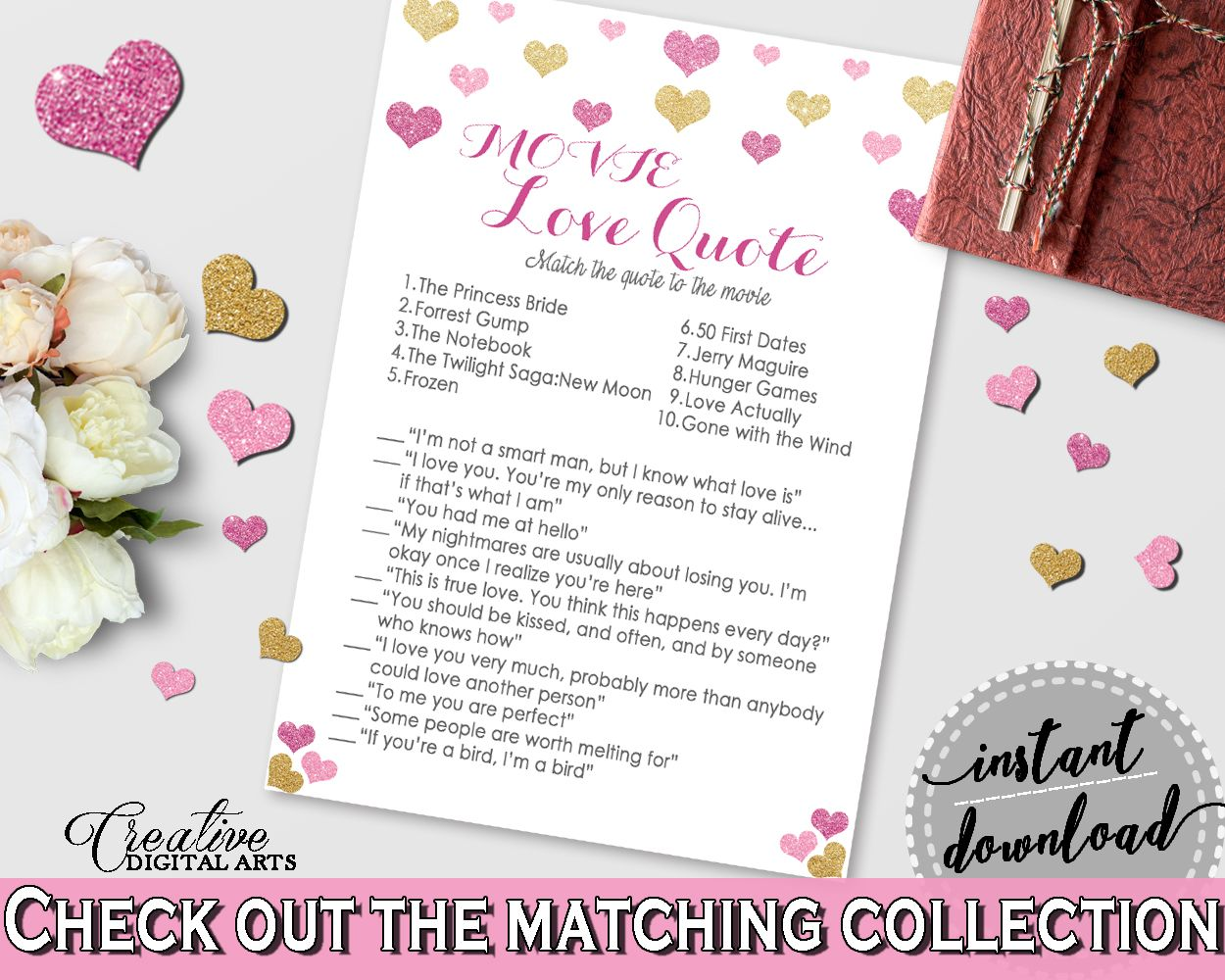 Printable bridal shower game MOVIE LOVE QUOTE GAME in Glitter Hearts theme Popular and fun game Movie Love Quotes is a trivia game testing the knowledge of