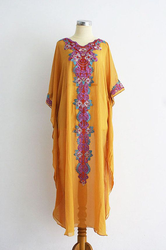 e87b2a84b830b Yellow Saffron Chiffon Moroccan Caftan Style FULL Color Embroidery Abaya  Dubai Maxi Dress Jalabiya for women