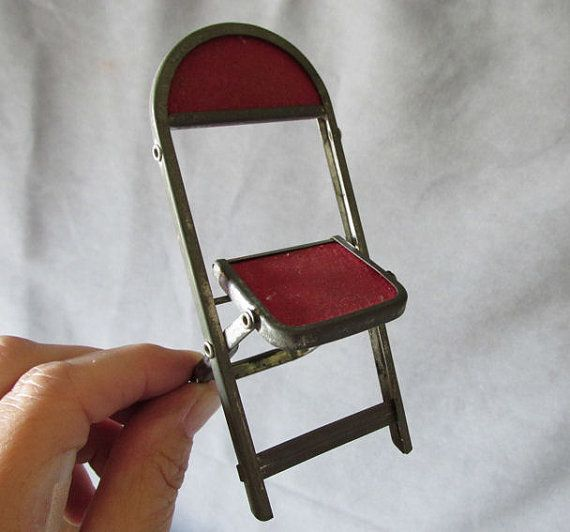 2 Miniature Folding Chairs Salesman Sample Or Dolls Toy Miniature Chair Folding Chair Miniatures