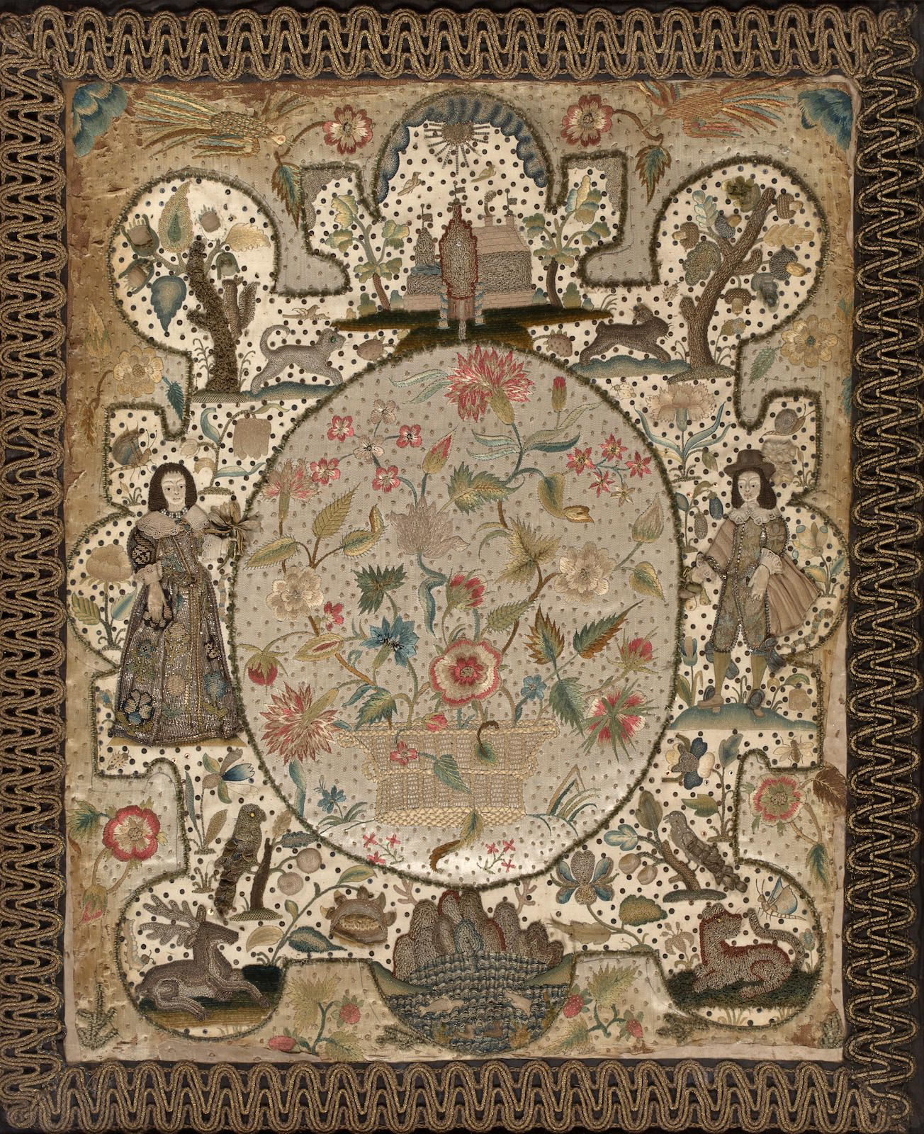 A charles ii silk needlework and stumpwork picture midth century