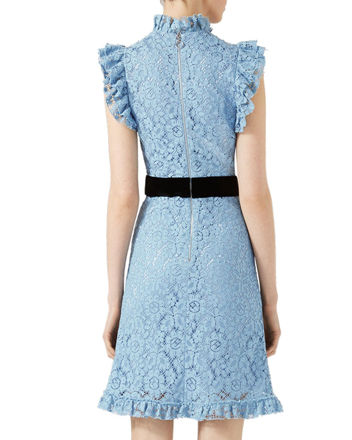 98facad12 Gucci Embroidered Cluny Lace Dress, Light Blue | Neiman Marcus ...