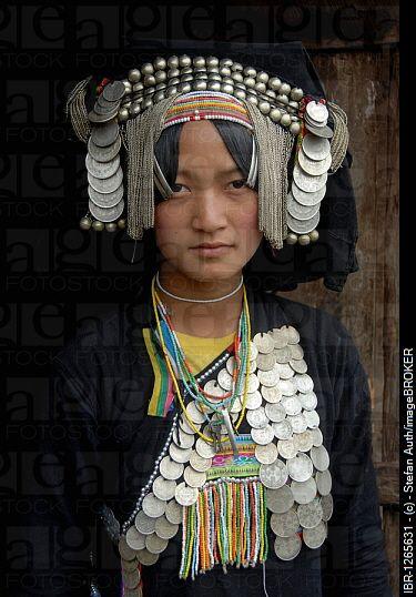 Laos | Akha Pixor woman in traditional dress. Village Ban Moxoxang, Phongsali district, Phongsali province, Phongsaly