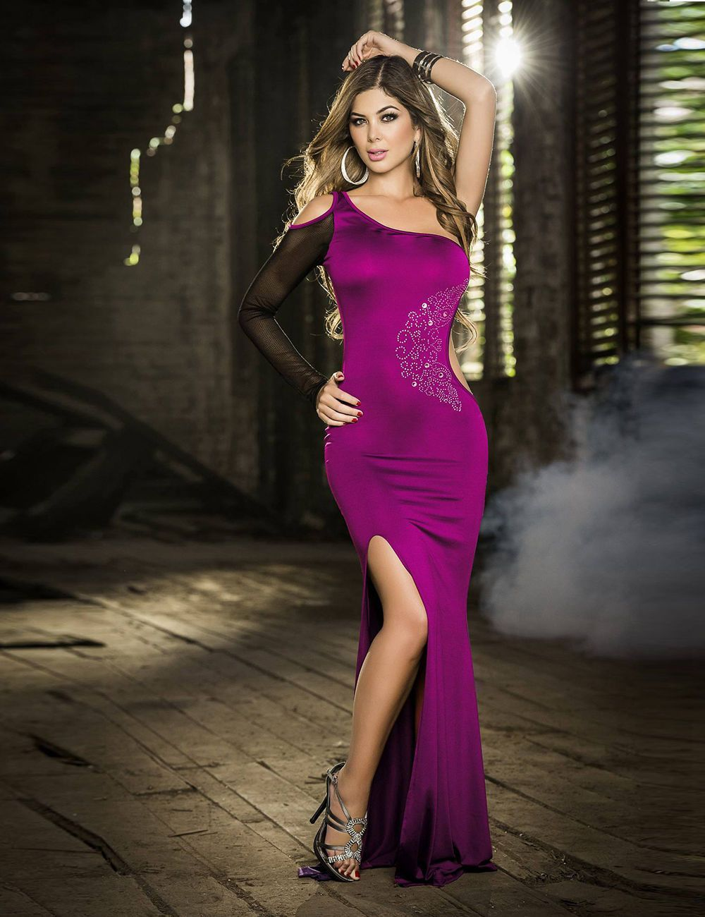 2016 Deluxe Purple One-Shoulder Long Dress | Products | Pinterest