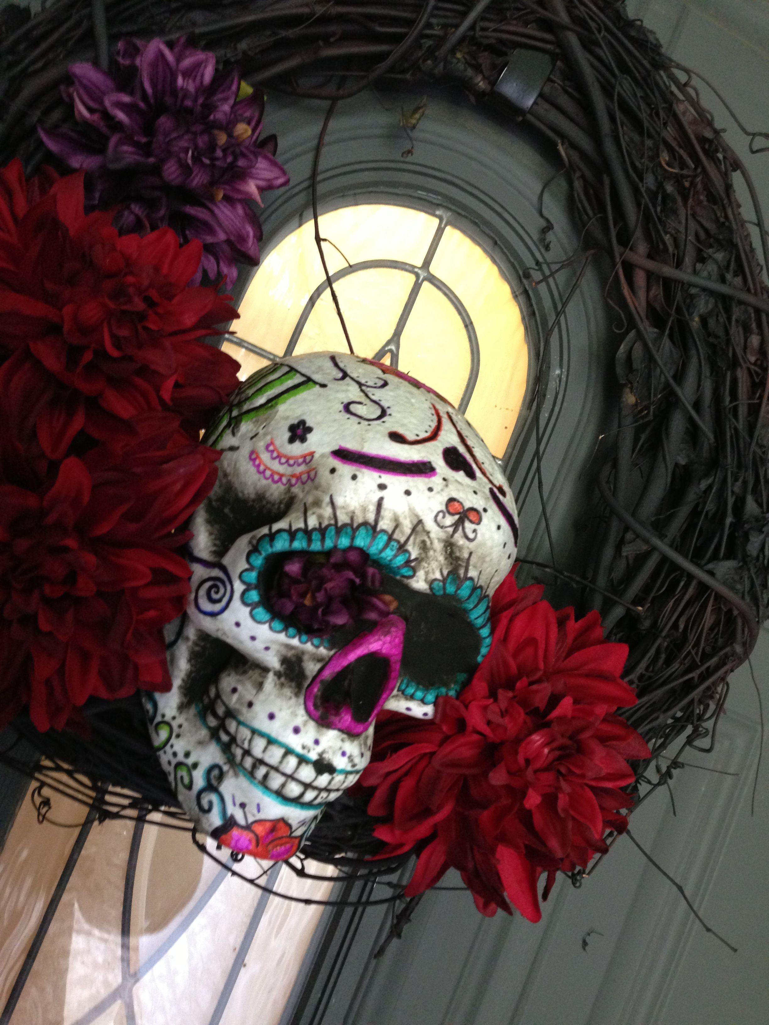 Dia de Los muertos - sugar skull wreath | dia de los ...