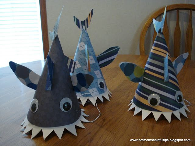 Homemade Crazy Hat Homemade Shark Party Hats With Images