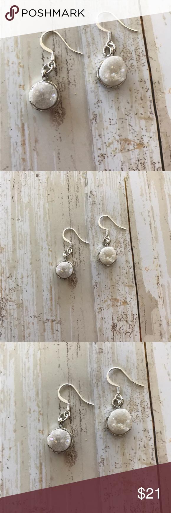 Druzy Earrings Gorgeous, sparkly, white genuine druzy earrings. 3/4 inch length. Clean, crisp accessory for your wardrobe. original livandgray Jewelry Earrings