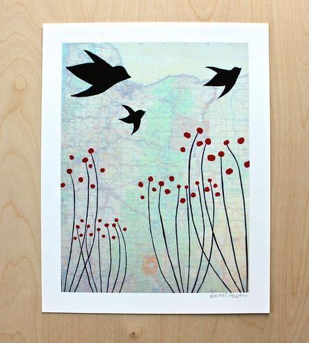 Oregon & Birds Art Print | Art Prints & Posters | Rachel Austin | Scoutmob Shoppe | Product Detail