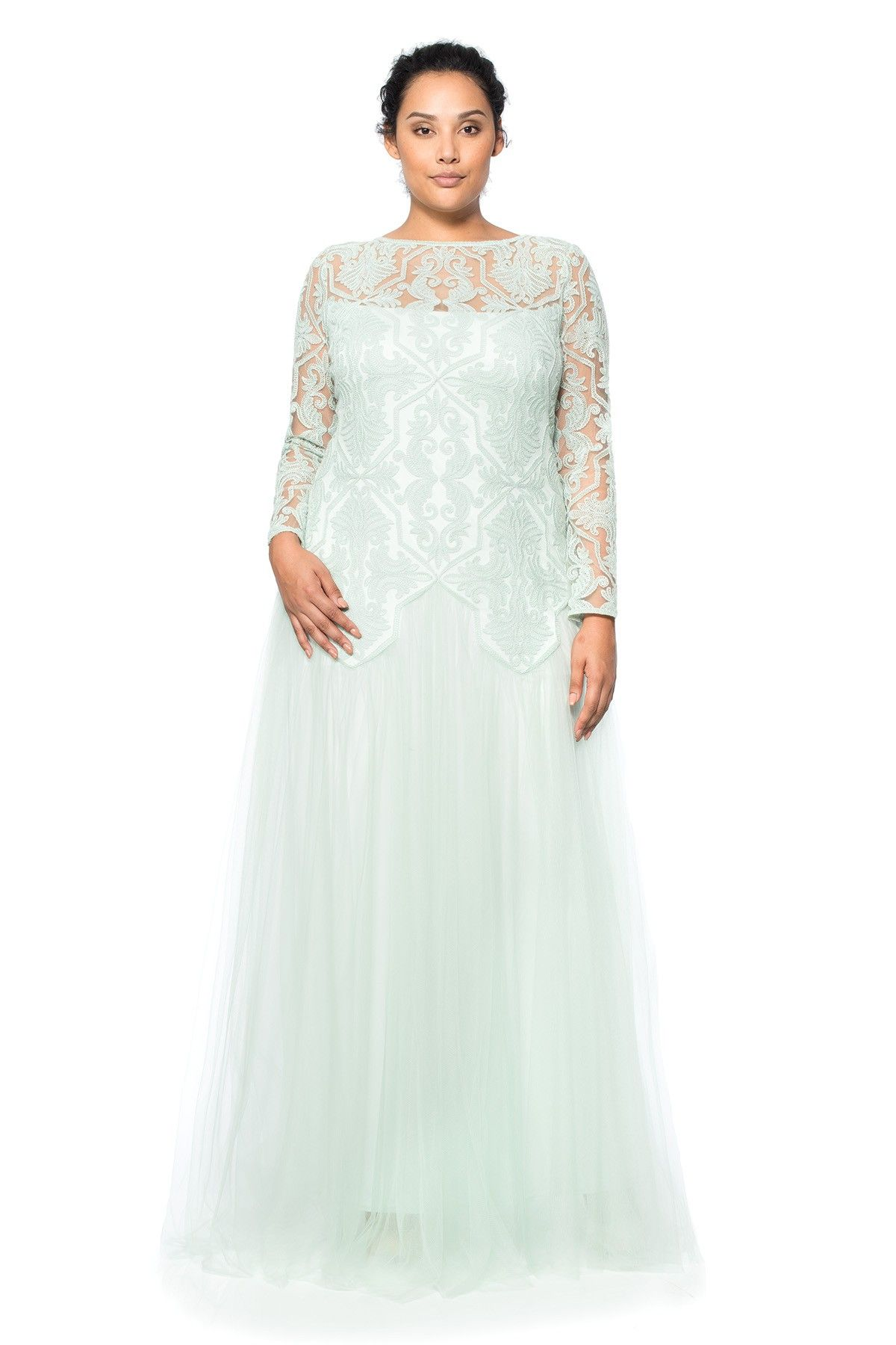 Tadashi shoji long sleeve wedding dress  Tadashi Shoji Plus Size  Sheer Illusion Long Sleeve Gown  curvy