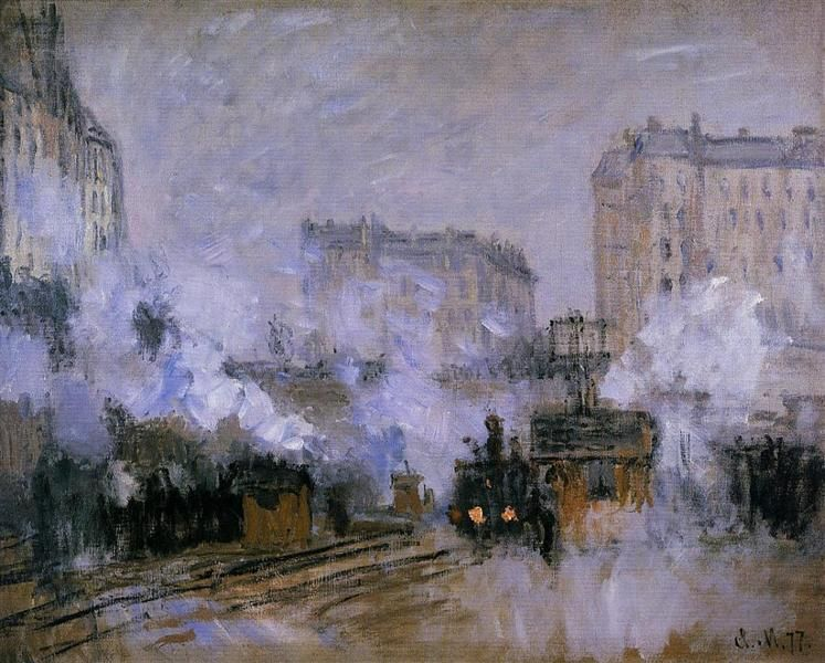 Saint-Lazare Station, Arrival of a Train, 1877 by Claude Monet. Impressionism. cityscape