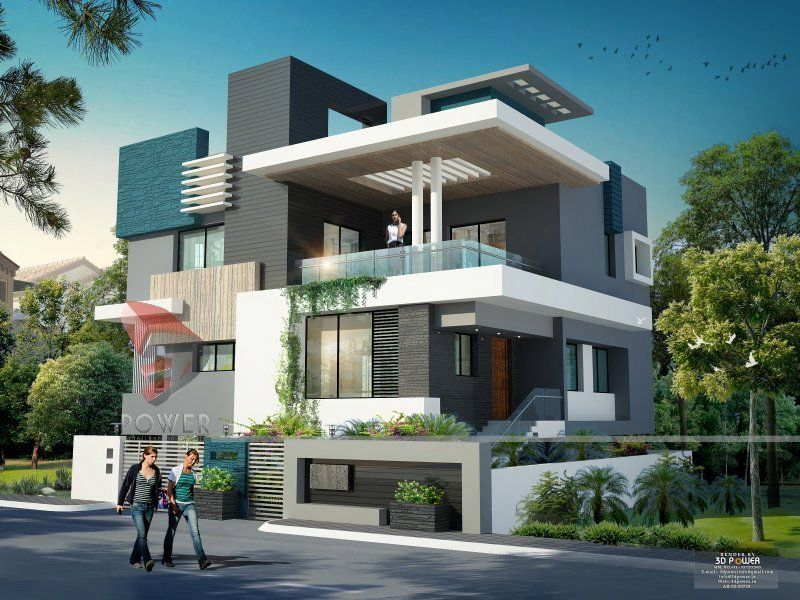 Modern home design render by 3dpower 3d power for Indian home design photos exterior