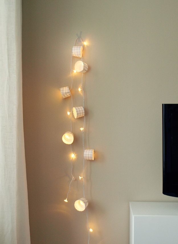 Wall String Lights For Bedroom: Pretty Wall Decor With #Fairy Lights & Cupcake Holders