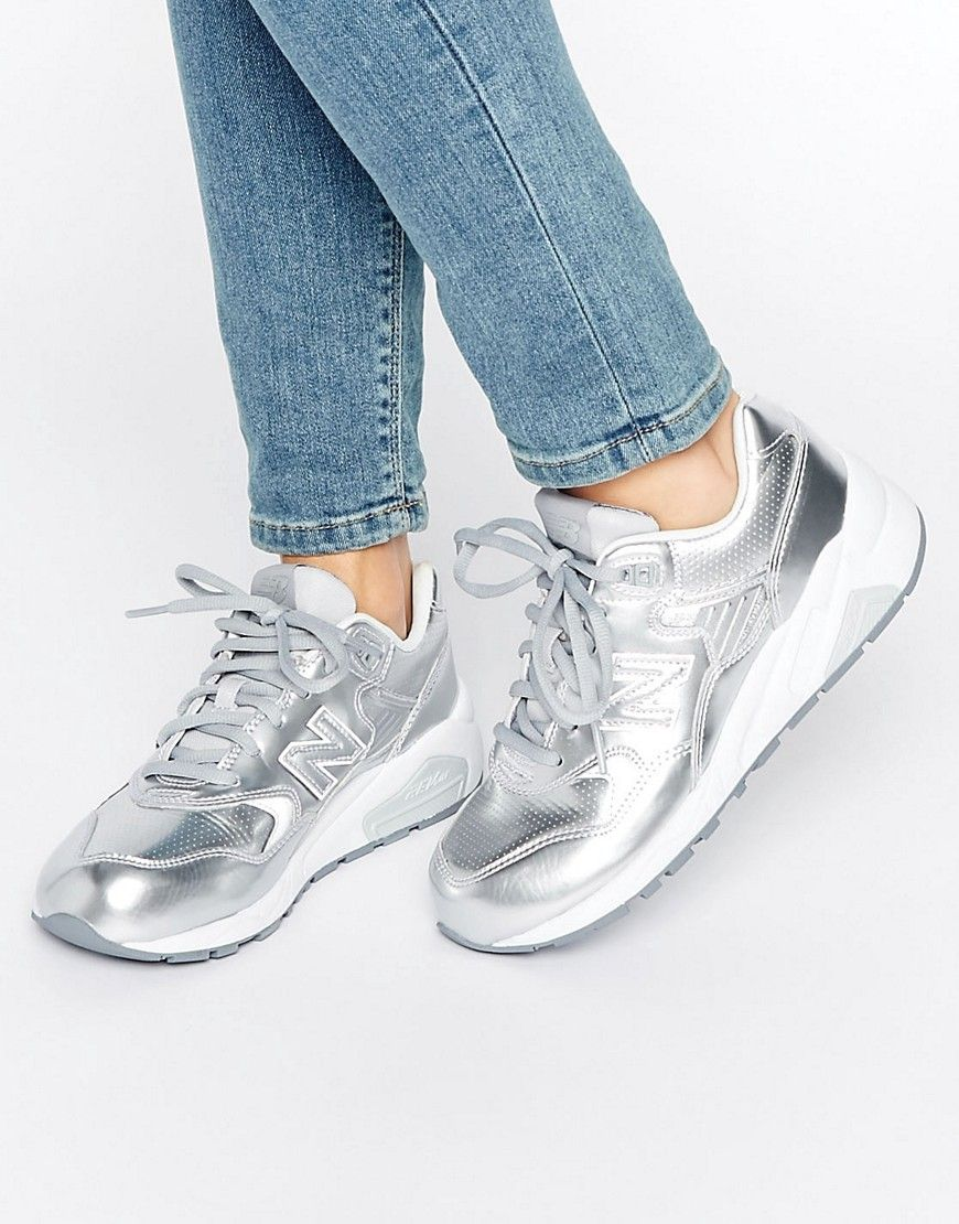 Buy it now. New Balance 580 Trainers In Silver - Silver ...