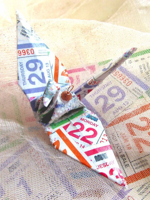 San Francisco MUNI Transfer Peace Crane Bird, Wedding Cake Topper, Party Favor Origami Christmas Ornament Anniversary Place Card Holder