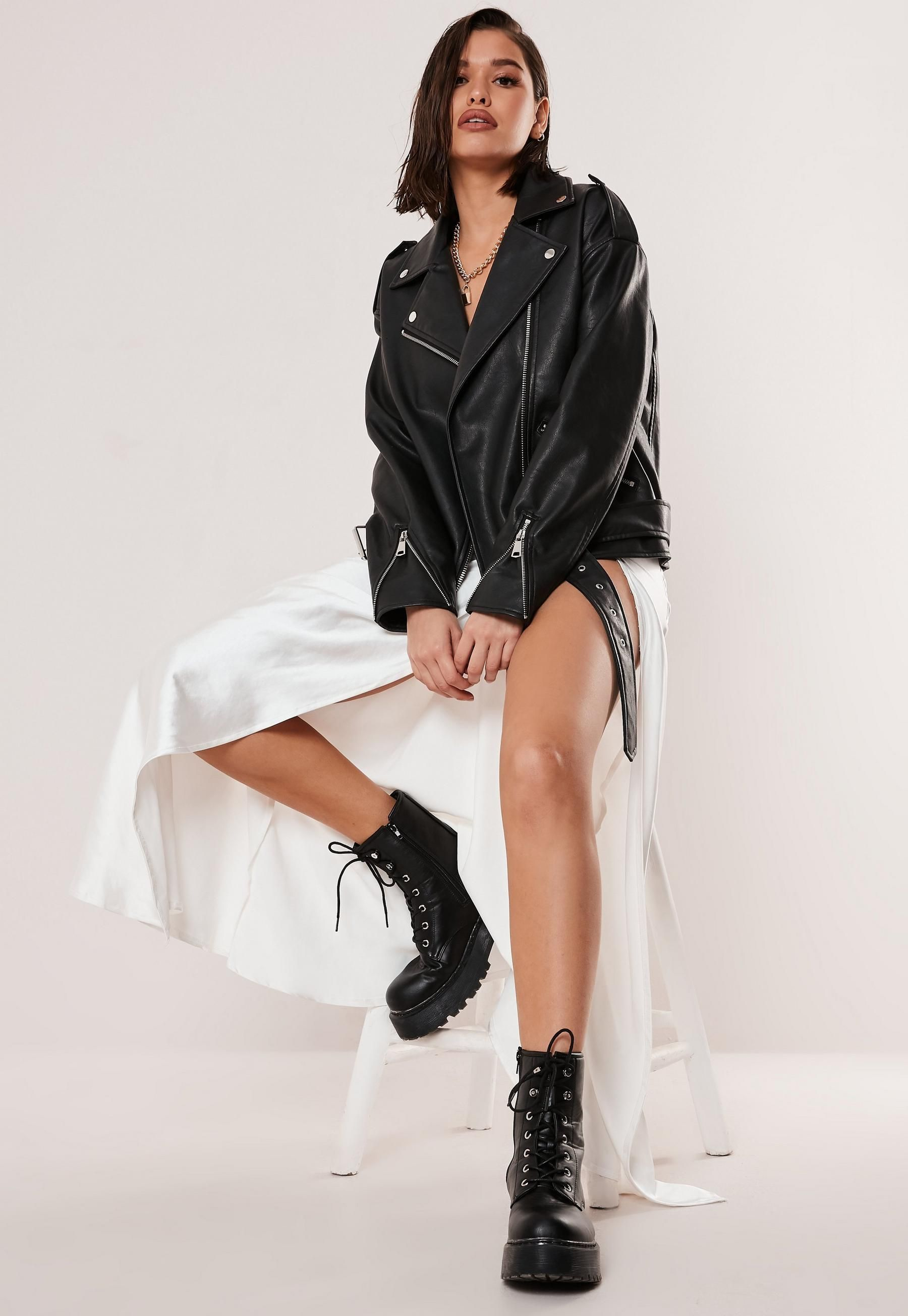 Missguided Black Faux Leather Oversized Biker Jacket