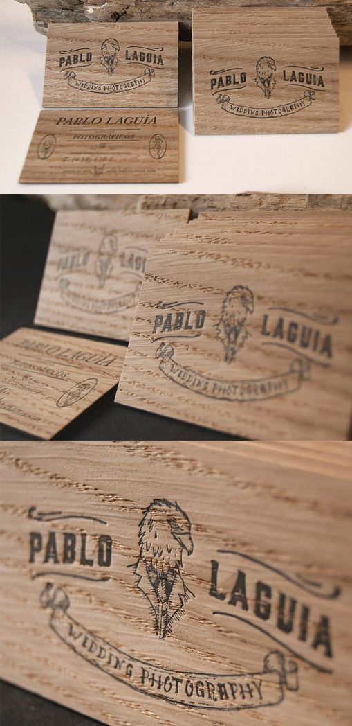 How To Advertise Your Wedding Photography Business: Letterpress Printed Wooden Business Card For A Wedding