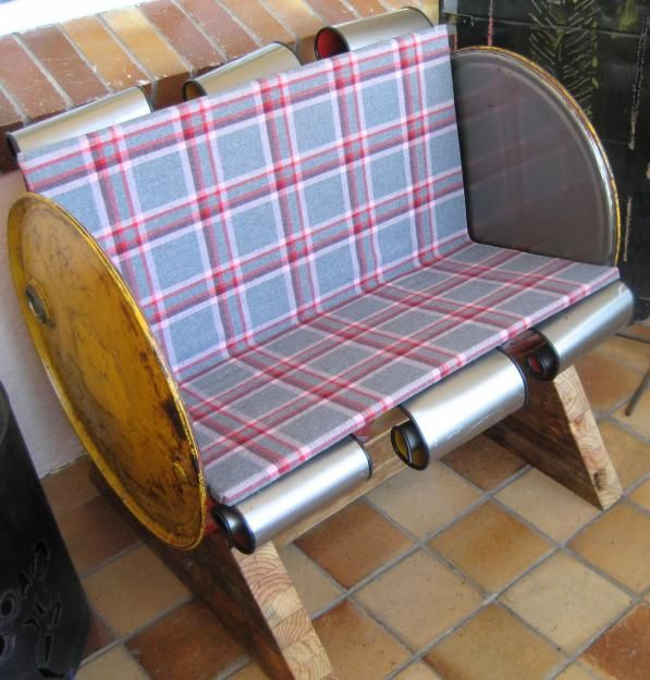 upcycled furniture ...metal barrel bench | Recycle Art | Pinterest ...