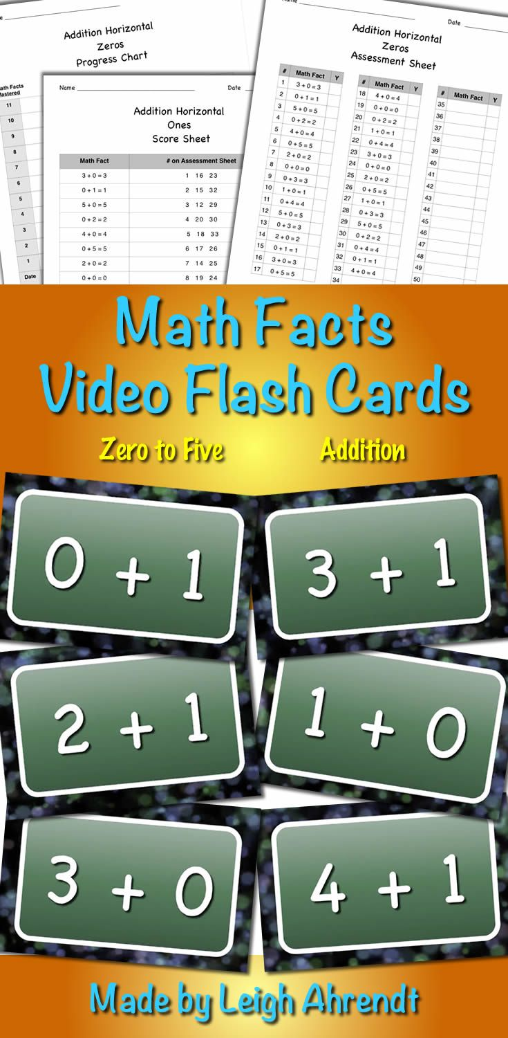 Video Math Facts Flash Cards - Zero to Five (Addition) | Math facts ...