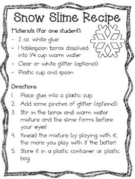 Melting Snowman And Snow Slime Science Labs Winter Science Lab Winter Science Melting Snowmen Winter Crafts For Kids