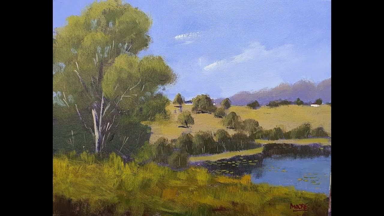 Learn To Paint Tv E98 Tweed River View Acrylic Landscape Painting For In 2020 Landscape Paintings Acrylic Learn To Paint Painting