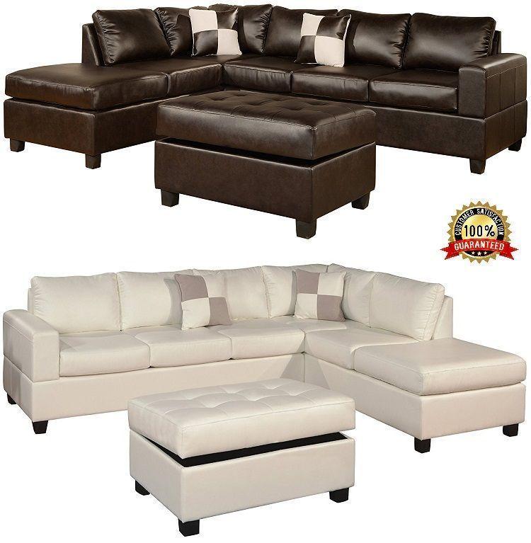Corner Leather Sofa Set Chaise Reversible Storage Ottoman
