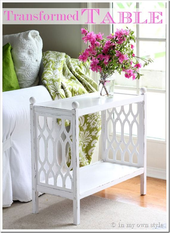 Thrift table makeover - DIY info including adding ball finials and using chalk paint.