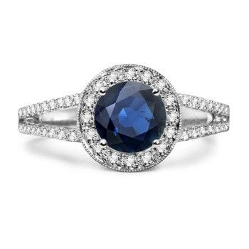 Angara Round Blue Sapphire and Diamond Halo Split Shank Ring in White Gold