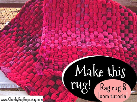 Rug making tutorial that shows you how to make a rag rug shown in the images above, both the smooth-edged and tasseled rugs. Both styles are very easy to make and use mostly t-shirts or other knit fabric. The rag rugs instructions are 49 pages and have many images and clear instructions for each step, including how to make a frame loom. These are chunky, thick rugs. Weaving rag rugs is a fun and easy project and a great way to be able to make your own rug or gifts for family and friends…