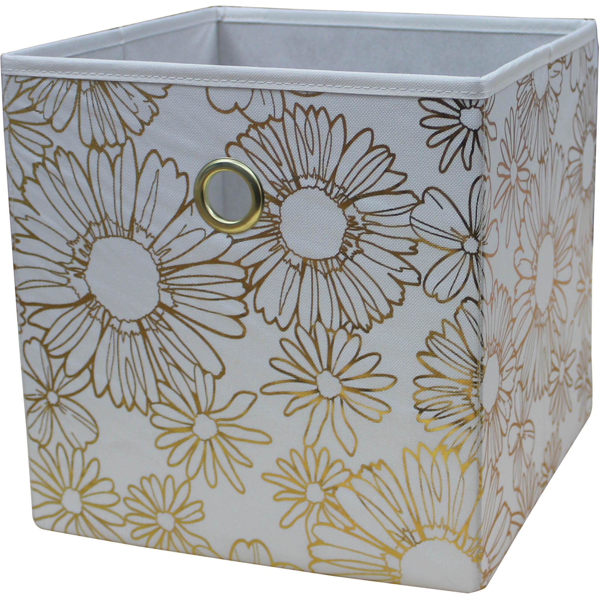 Mainstays Collapsible Fabric Cube Storage Bin 10 5 X 10 5 Floral Gold Walmart Com Cube Storage Cube Storage Bins Fabric Storage Cubes