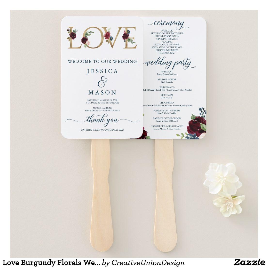 Love burgundy florals wedding program fan golden wedding