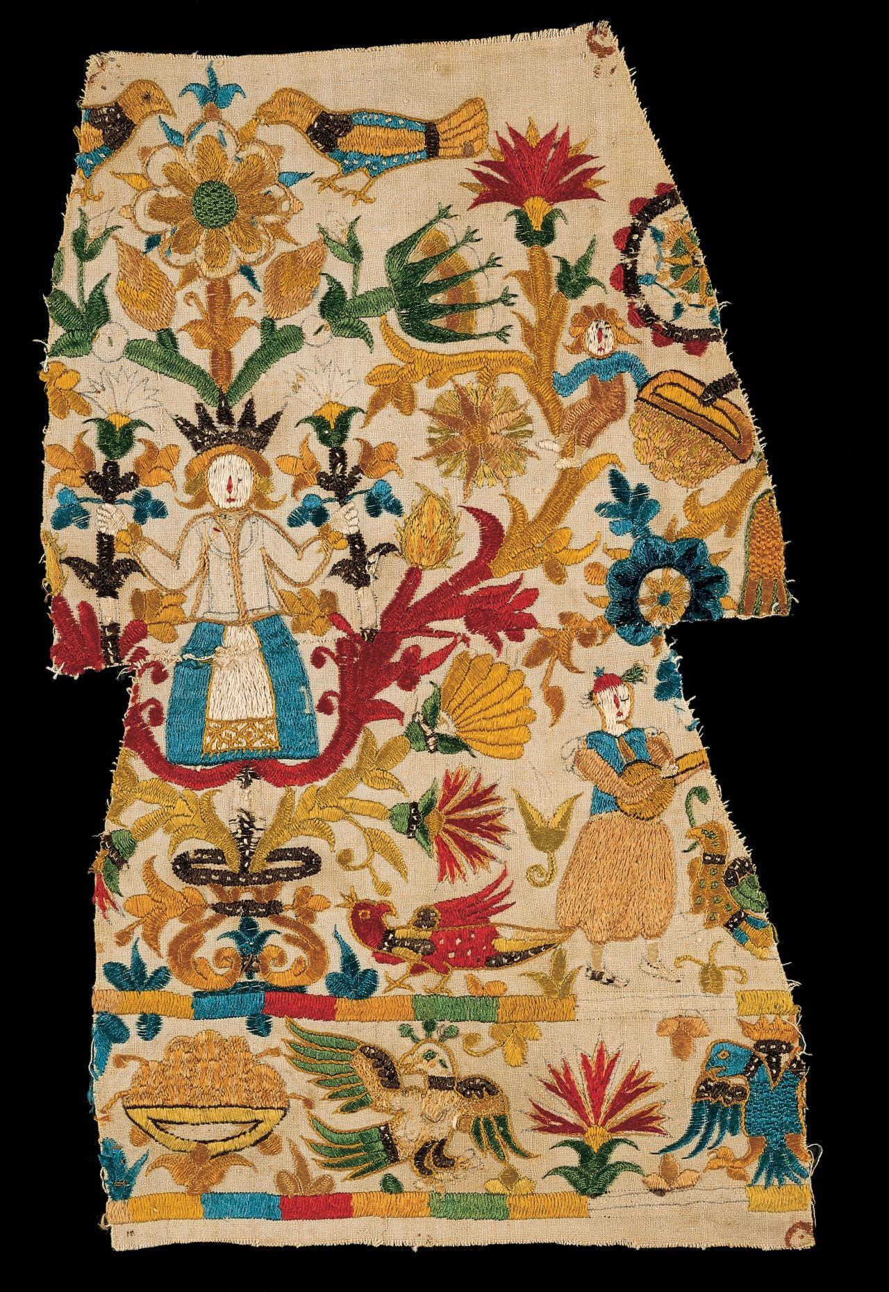 Part of embroidery depicting a woman on a floral ground and a