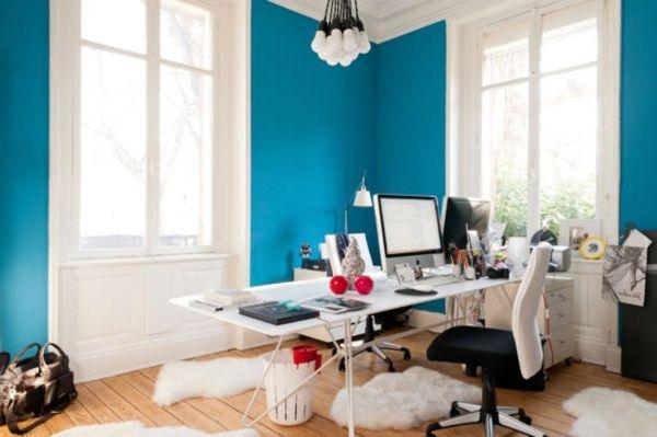 Wandfarbe Arbeitszimmer ~ Arbeitszimmer blaue farbe lagune moderne gestaltung arbeitszimmer