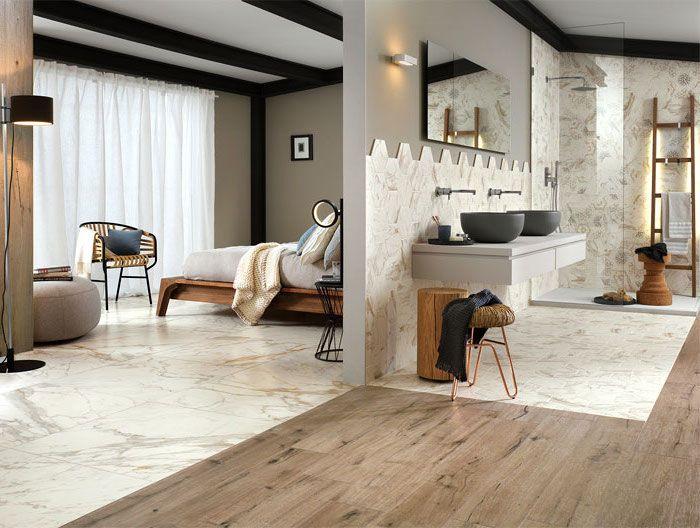 badezimmer deko, bad mit marmorfliesen und parkett, landhausstil - bad landhausstil