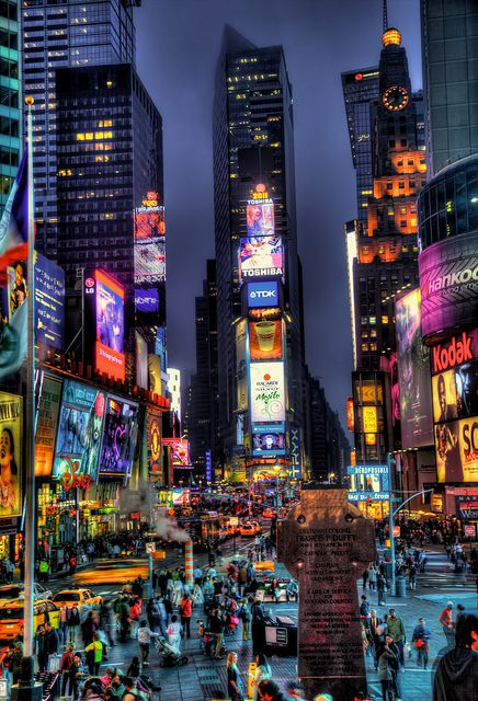 Times Square In New York City At Night Times Square New York Night City New York City