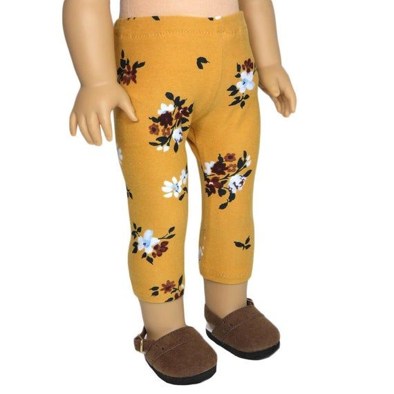Leggings. Mustard Yellow with Floral Print. 18 Inch Doll Clothes #18inchdollsandclothes