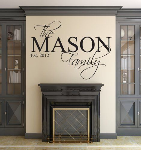 Family name wall decal custom personalized wall decals monogram name initial established year vinyl wall decals home decor