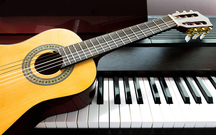 Download Wallpapers 4k Piano Guitar Musical Instruments Close Up Besthqwallpapers Com Guitar Piano Musical Instruments