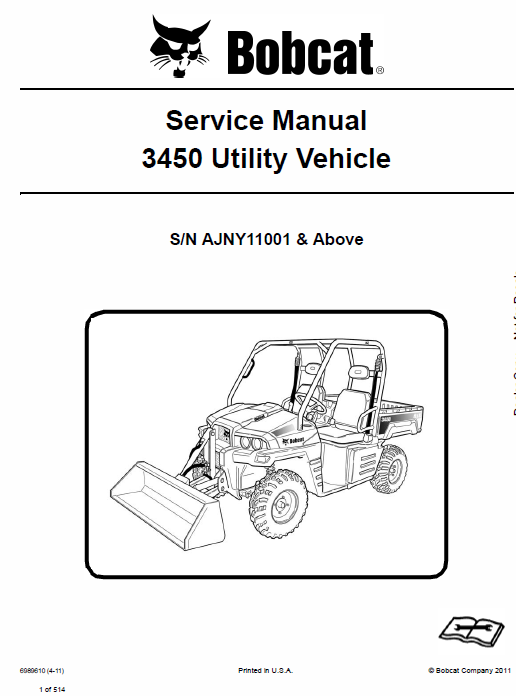 Bobcat 3450 Utility Vehicle Schematics, Operating and