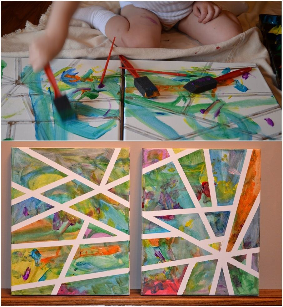 Painting Ideas With Tape: Abstract Art With Tape For Kids To Enjoy