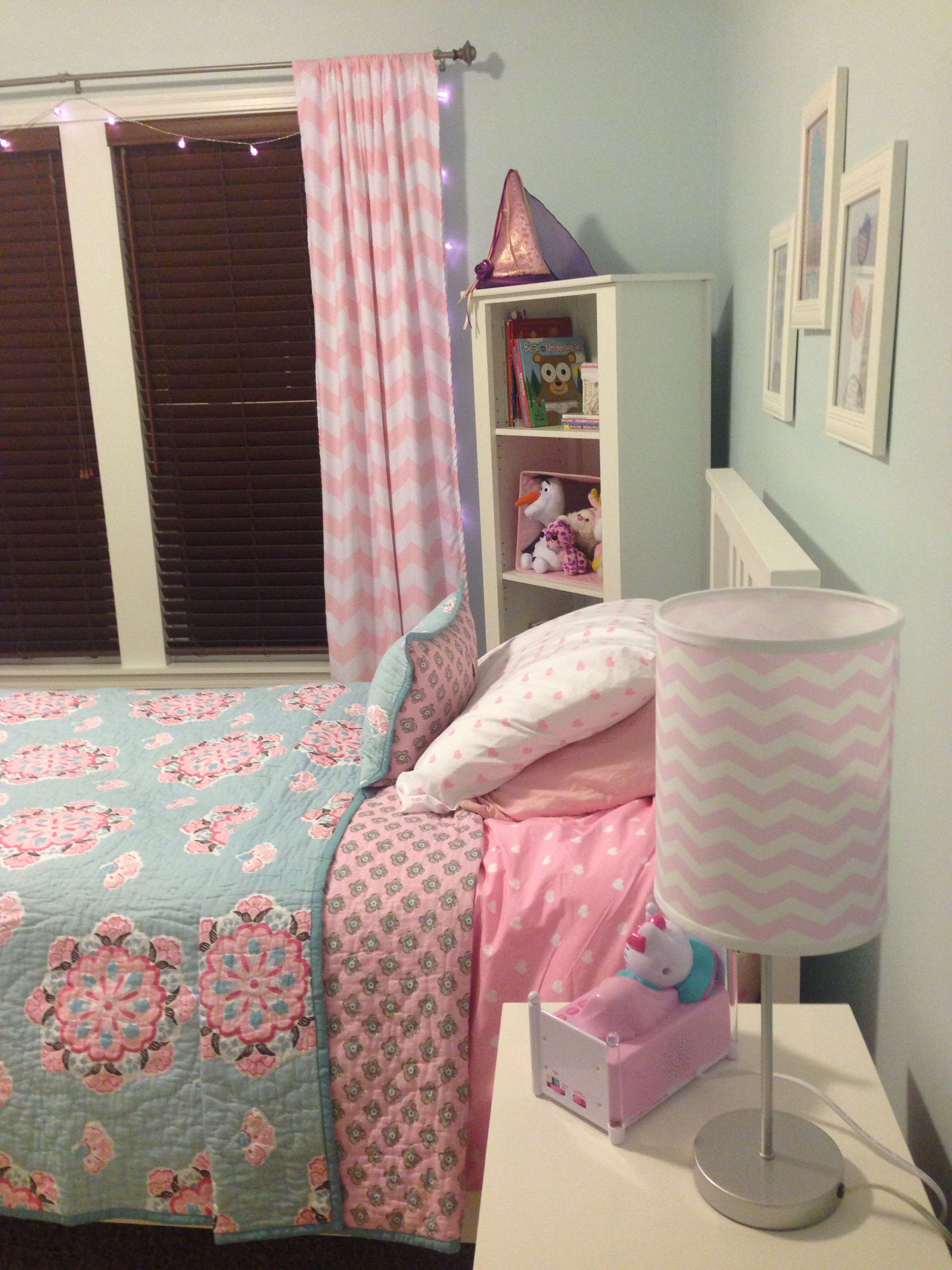 Maddy's Completed Light Blue/pink Big Girl Room. Pottery Barn Brooklyn Bedding. Paper Pom Poms