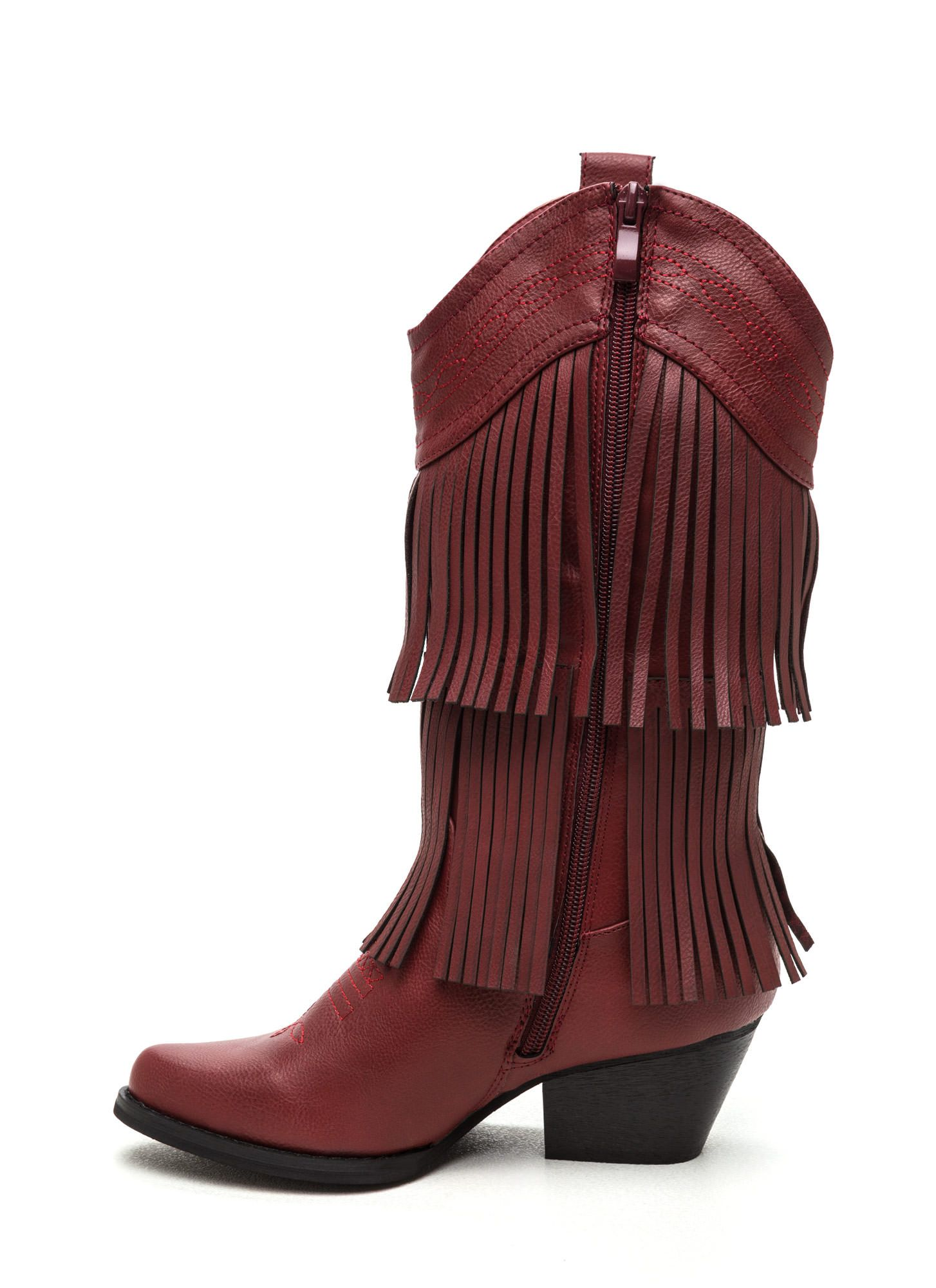 Ride A Cowgirl Chunky Fringe Boots DKBROWN RED - GoJane.com ...